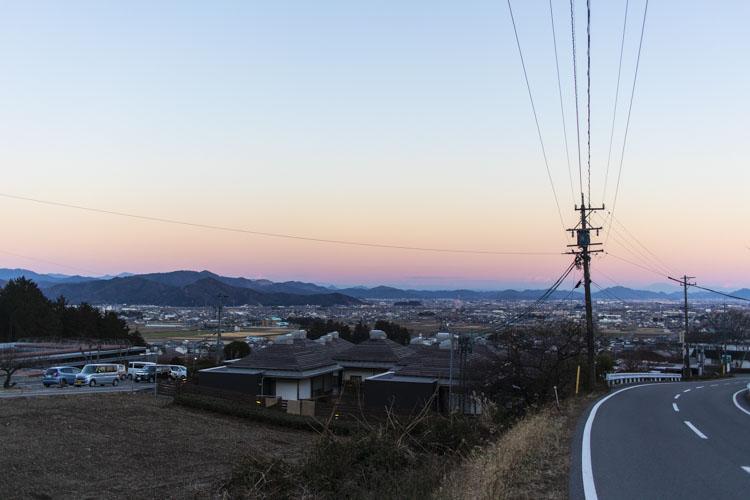 大津谷公園キャンプ場中腹あたりから見える景色