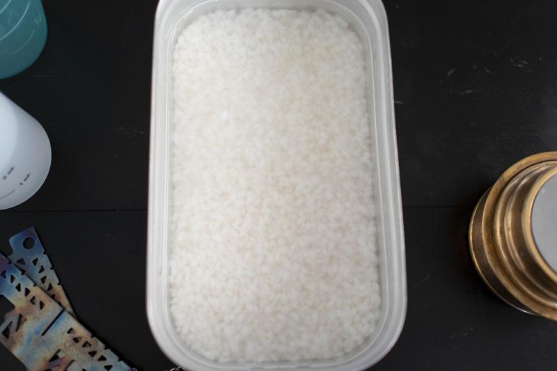 30分間水に浸したお米