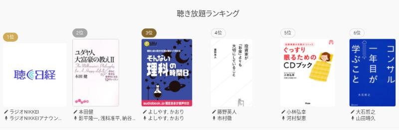 audiobook.jpで聴けるオーディオブック